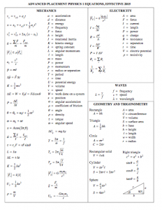 Physics 1 Formula Sheet | amulette